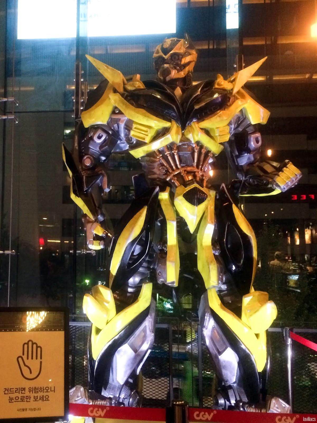 Seoul, Korea - Summer Study Abroad 2014 - Sinchon CGV Movie Theater Cinema - Transformers statue figure