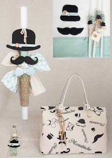 boy baptism set with mustache