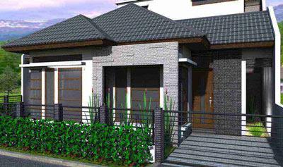 bentuk rumah sederhana di kampung atau desa