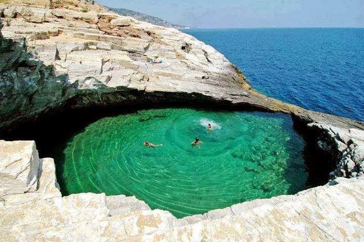 Amazing Natural Pool Giola in Thassos Island, Hellas (Greece)