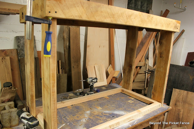 kitchen island, reclaimed wood, barnwood, salvaged, crate, DIY, http://bec4-beyondthepicketfence.blogspot.com/2016/02/reclaimed-wood-island.html