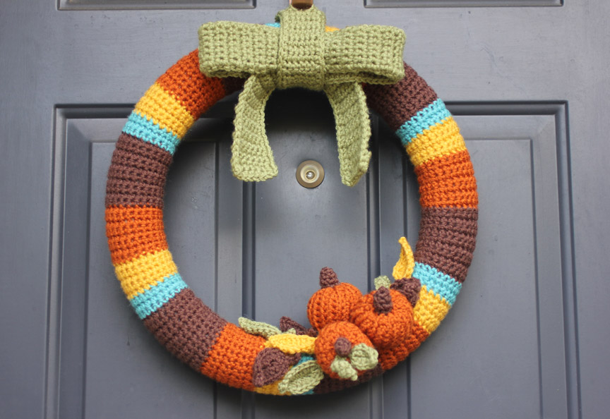 Crocheted Fall Wreath Repeat Crafter Me