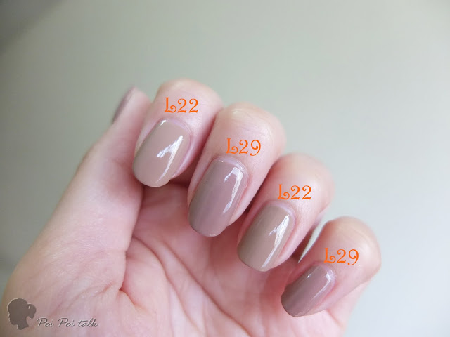 OPI 光療指甲油 INFINITE SHINE-ISL22、ISL29試色比較