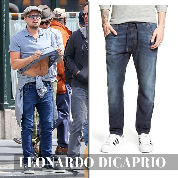 Leonardo Dicaprio in Diesel jeans and grey polo shirt celebrity style