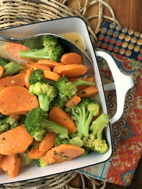Marinated Sweet Potatoes and Broccoli: a healthy, vegetable dish to counter balance an abundance of rich food then this is just the dish for you. It's pretty, flavourful and can be served as a salad or vegetable side dish. It goes well in a buffet line up too.