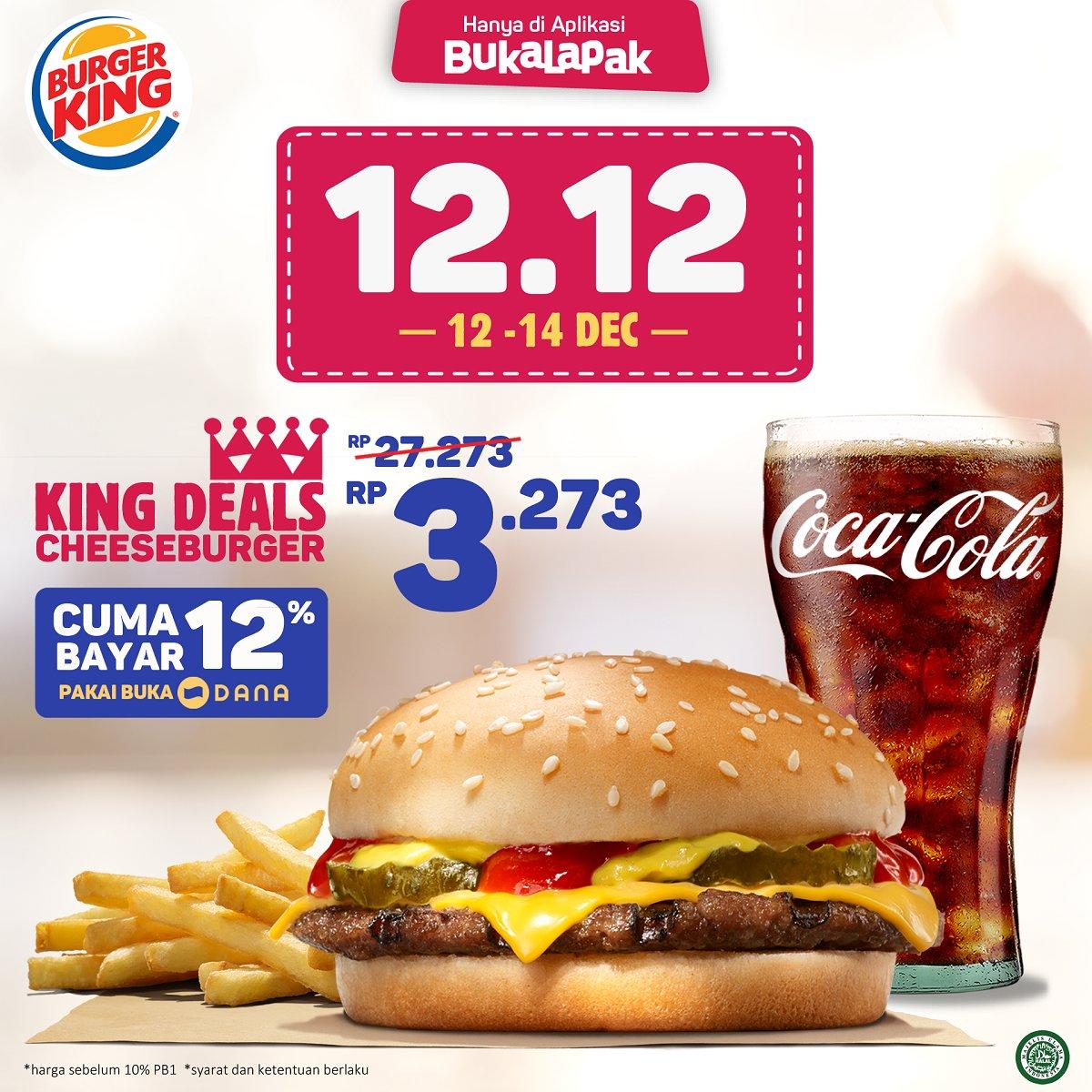 BurgerKing - Promo Voucher King Deals Cuma 3Ribuan di Bukalapak (s.d 14 Des 2018)