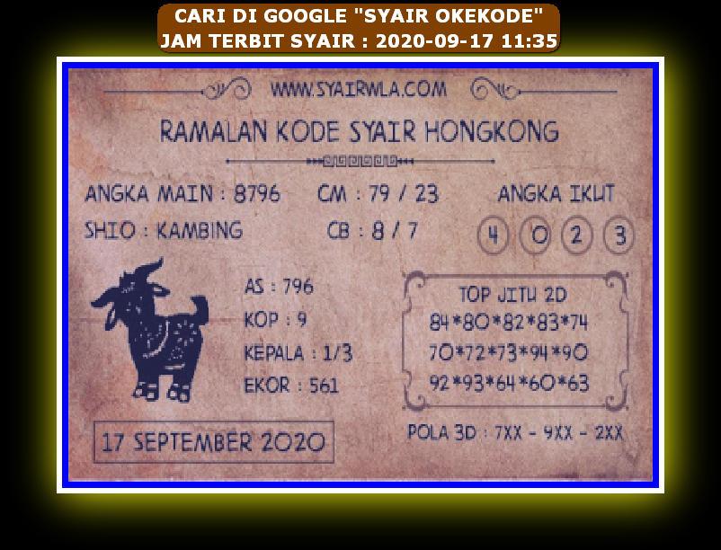 Kode syair Hongkong Kamis 17 September 2020 257