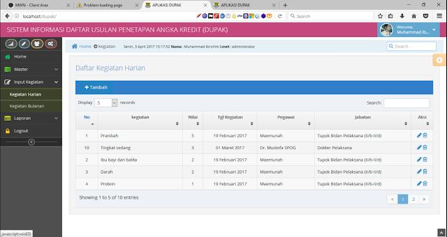 Source Code Aplikasi Sistem Informasi Daftar Usulan Penetapan Angka Kredit