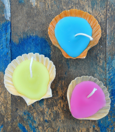 DIY Shell Candles Colored Wax
