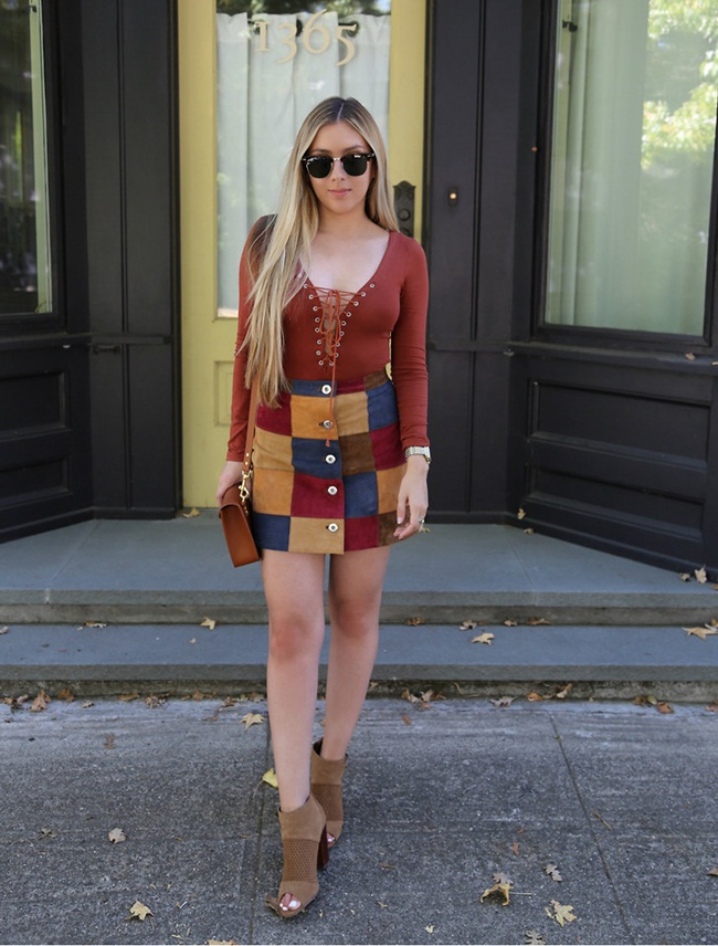 ASOS 2015 Fall Patchwork Suede Button Through Skirt