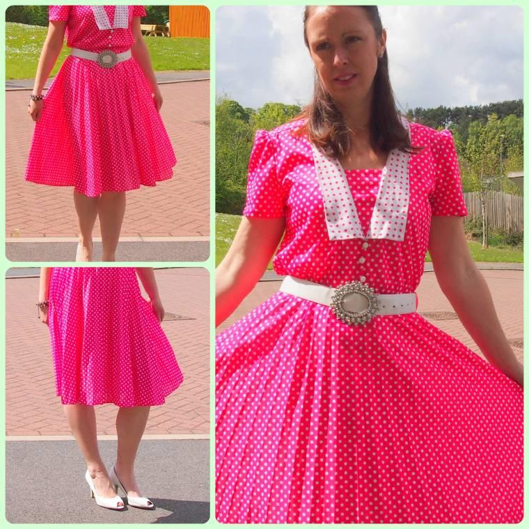 Neon Pink Tea Dress 50's Vintage Style Polka Dot