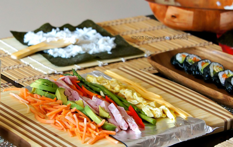 Gimbap prep ingredients