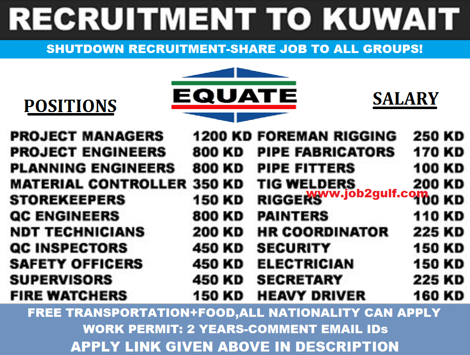 EQUATE SHUTDOWN PROJECTS IN KUWAIT - OIL & GAS JOBS KUWAIT