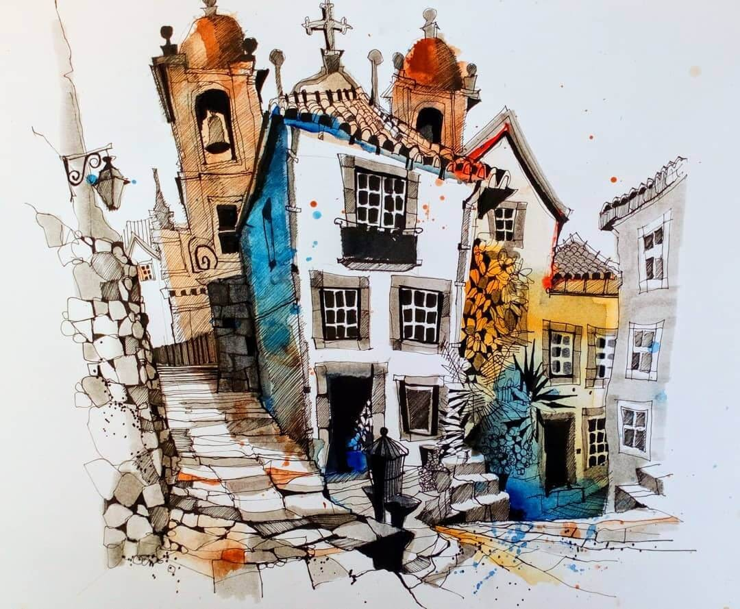 10-Porto-Ian-Fennelly-Urban-Sketches-Colorfully-Painted-www-designstack-co