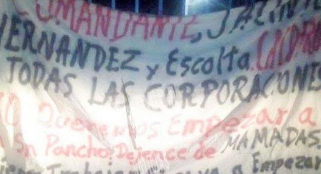 """Sicarios del CJNG dejan manta amenazando a"""" El Marro"""" en Guanajuato."""