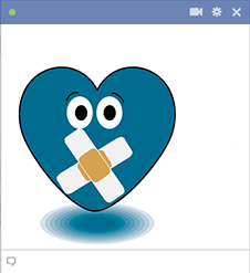 Muted heart sticker FB