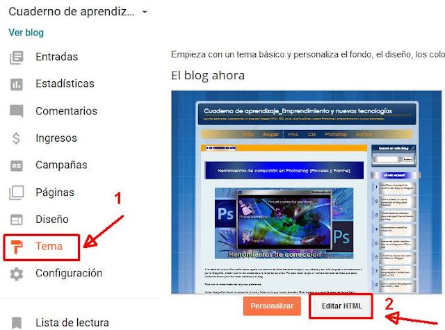 Editar HTML en el tema de un blog de Blogger