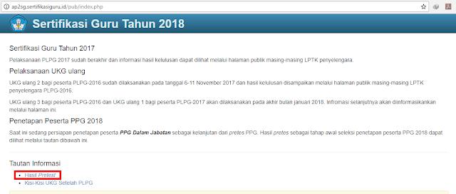 Hasil Pretest PPG Guru Tahun 2018
