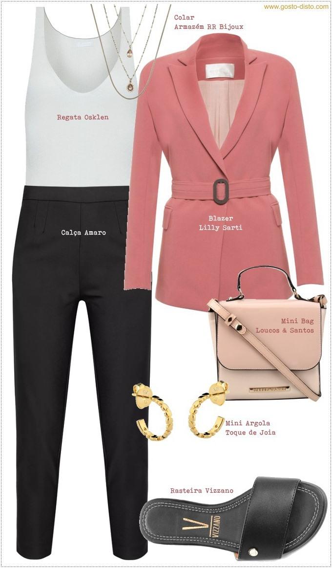 Blazer rosa com calça preta