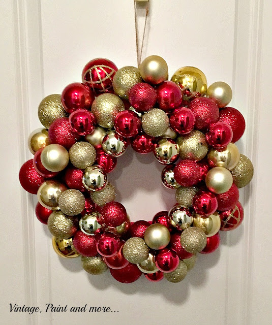 Vintage, Paint and more... Gorgeous DIY Ornament Wreath made with easily found Dollar Store items.