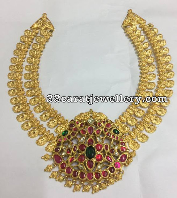 Two Layer Parrot Necklace with Kundan Locket