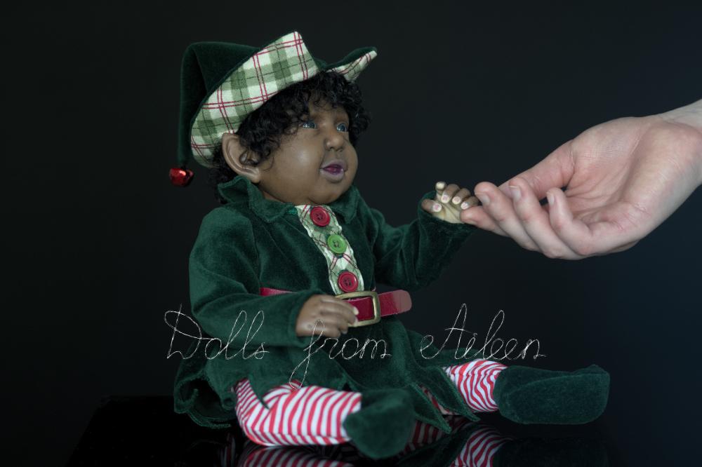 ooak Christmas elf art doll with human hand