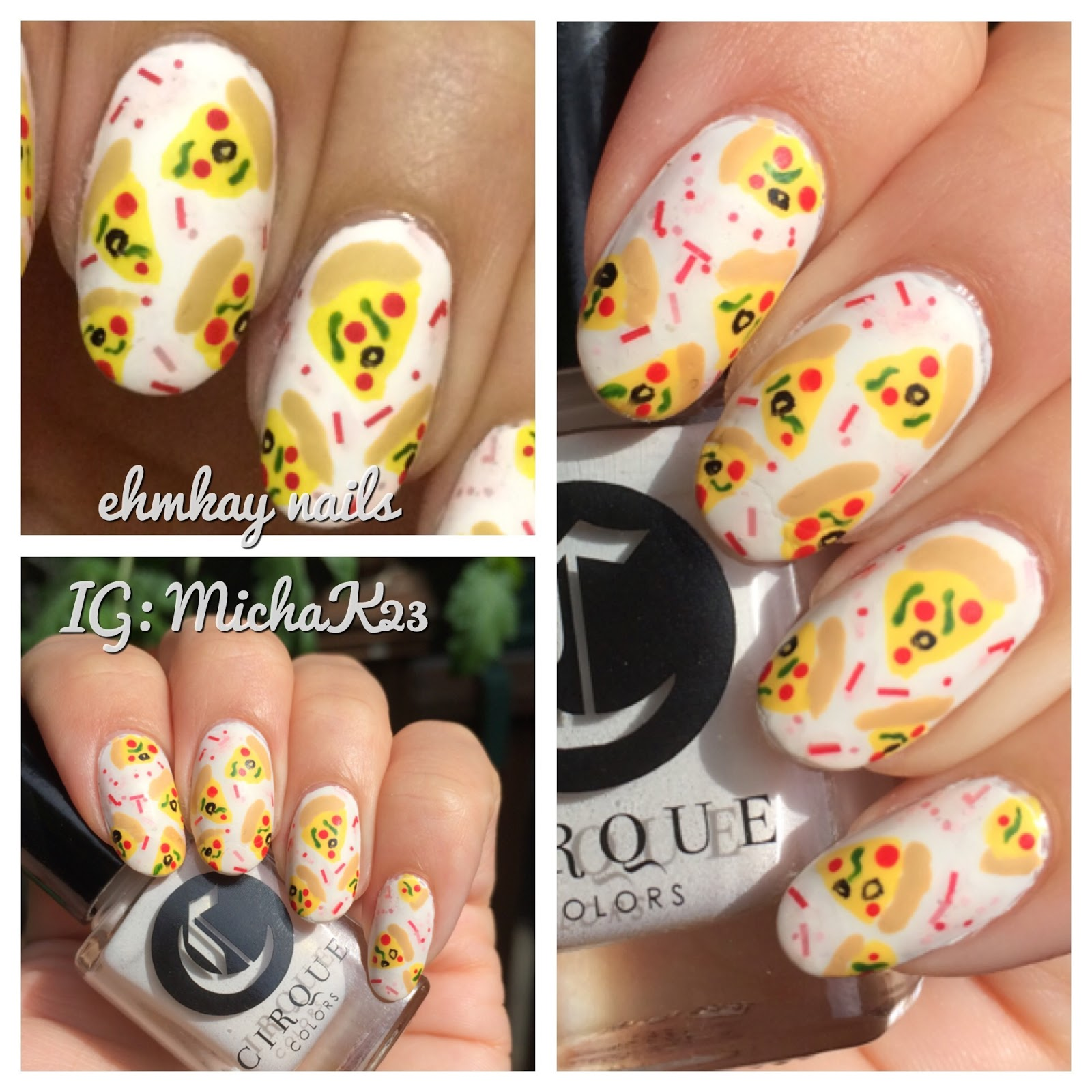 ehmkay nails: Pizza Party Nail Art with Cirque Colors