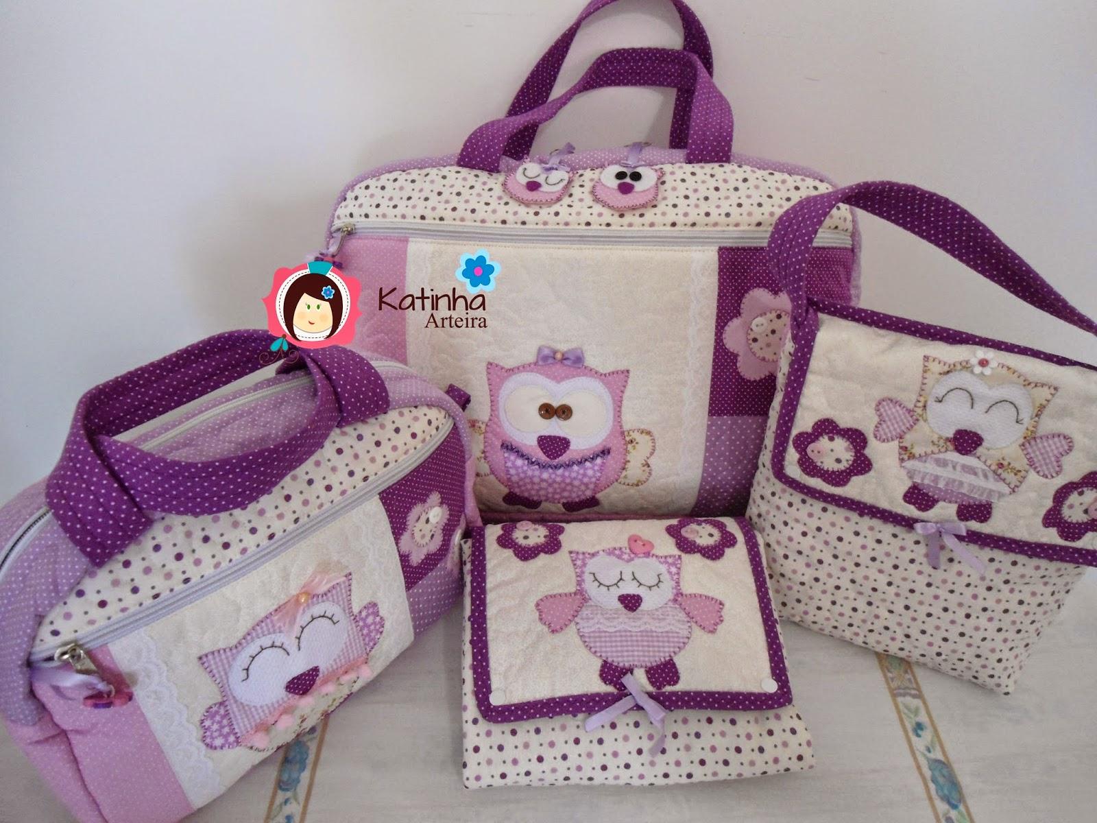 Bolsa Em Tecido Patchwork Feminina Com Alça Para Os Ombros : Katinha arteira kit passeio beb? menina