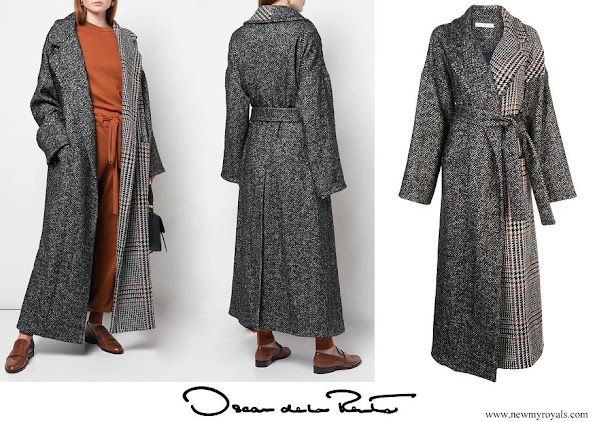 Queen Maxima wore OSCAR DE LA RENTA mixed-check belted coat