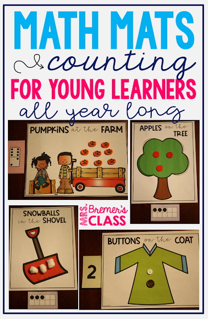 Math Mats for all year long! LOTS of different options for counting practice, including numbers, tallies, dominoes, and ten frames! These options provide further learning and challenge your young learners to process numbers in different ways. You are able to easily provide differentiated learning opportunities for your students with this pack! #mathmats #counting #kindergartenmath
