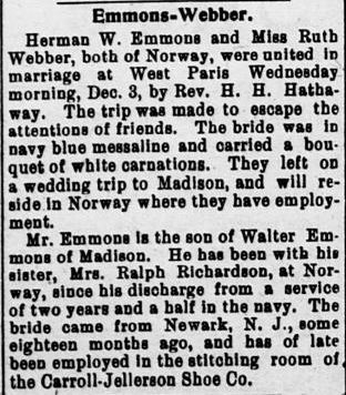 Newspaper Clipping dated 12/9/1919  Herman Emmons  and Ruth Webber marriage.