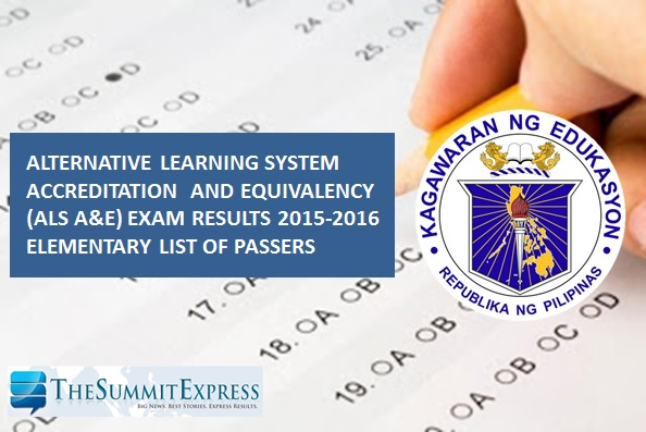 FULL LIST: DepEd releases 2015-2016 Elementary ALS Test results