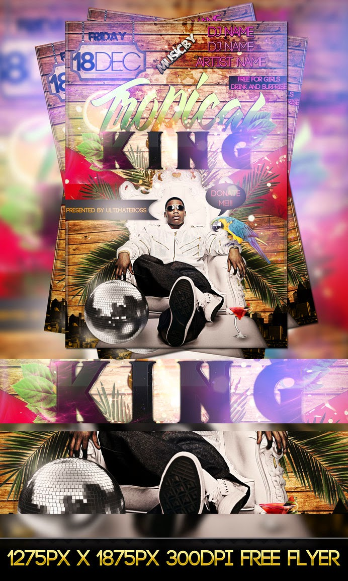 Free Tropical King Flyer Template PSD