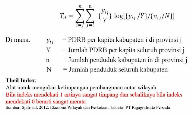 Formulasi Indeks Theil Indes (Ketimpangan Pembangunan)