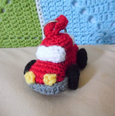 Crochet amigurumi little red car keychain