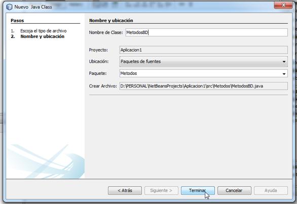 Clic en el boton terminar de la ventana new java class