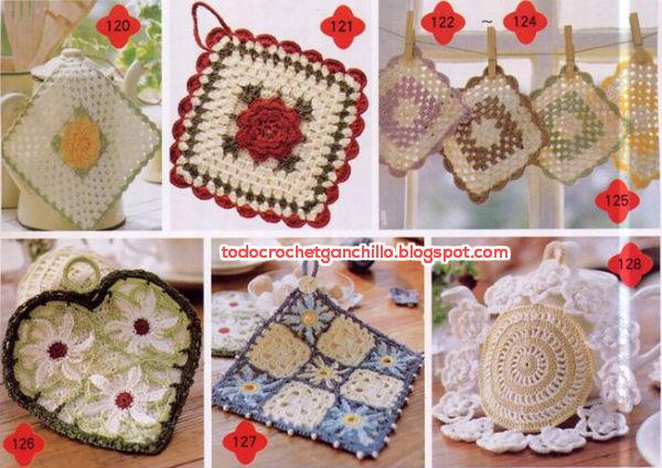 agarraderas tejidas al crochet con patrones y moldes
