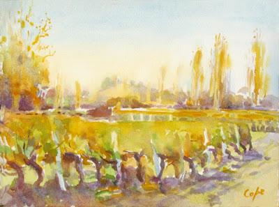 golden vines - watercolour