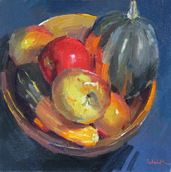 "Sedwick Studio Purple Bowl Of Plums Fruit Bowl Still: Sedwick Studio: ""Fall Fruit Bowl"" Apple Squash Gourd"