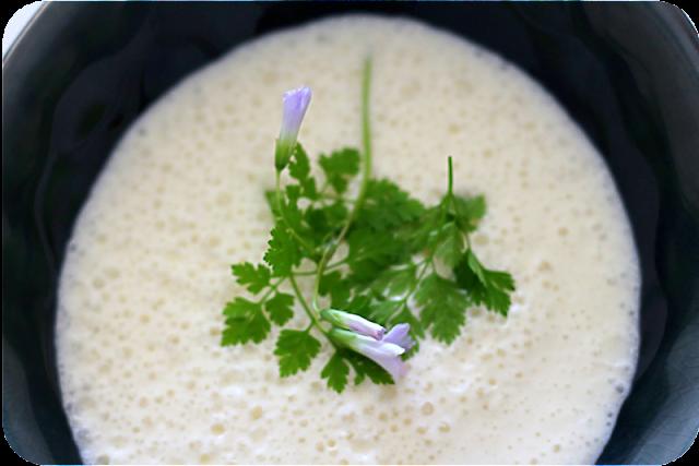 Spargelcrèmesuppe mit Kerbel und Blüten von Oxalis (Sauerklee) | Arthurs Tochter Kocht von Astrid Paul