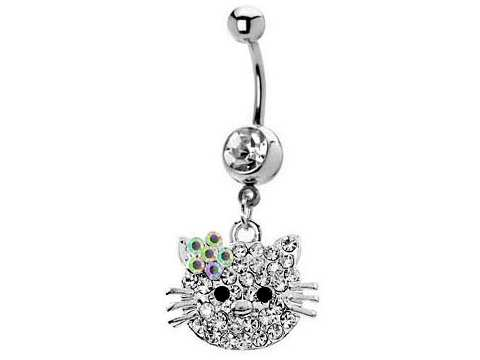 Hello Kitty Jewelry Gemstone Hello Kitty Belly Button Rings