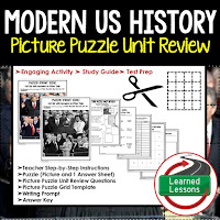 American History Picture Puzzles are great for TEST PREP, UNIT REVIEWS, TEST REVIEWS, and STUDY GUIDES, Modern US History