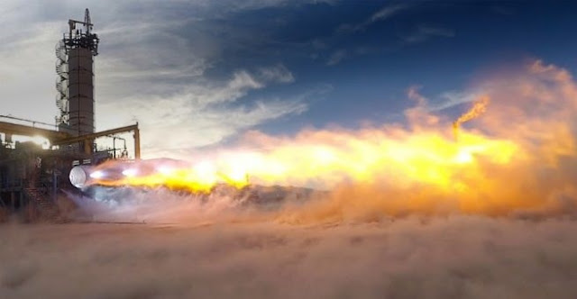 Test firing of Blue Origin's BE-4 engine. ULA selected the BE-4 to power the fist stage of the company's Vulcan Centaur rocket. Photo credit: Blue Origin