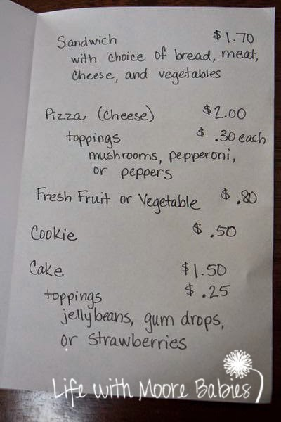 Make a menu for your pretend restaurant.