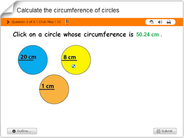 http://www.math4children.com/Grade6/games/other%20games/Calculate%20the%20circumference%20of%20circles/quiz.swf