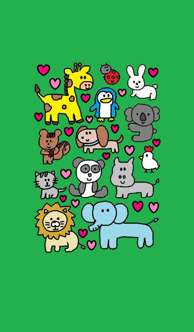 Many animals x (green)