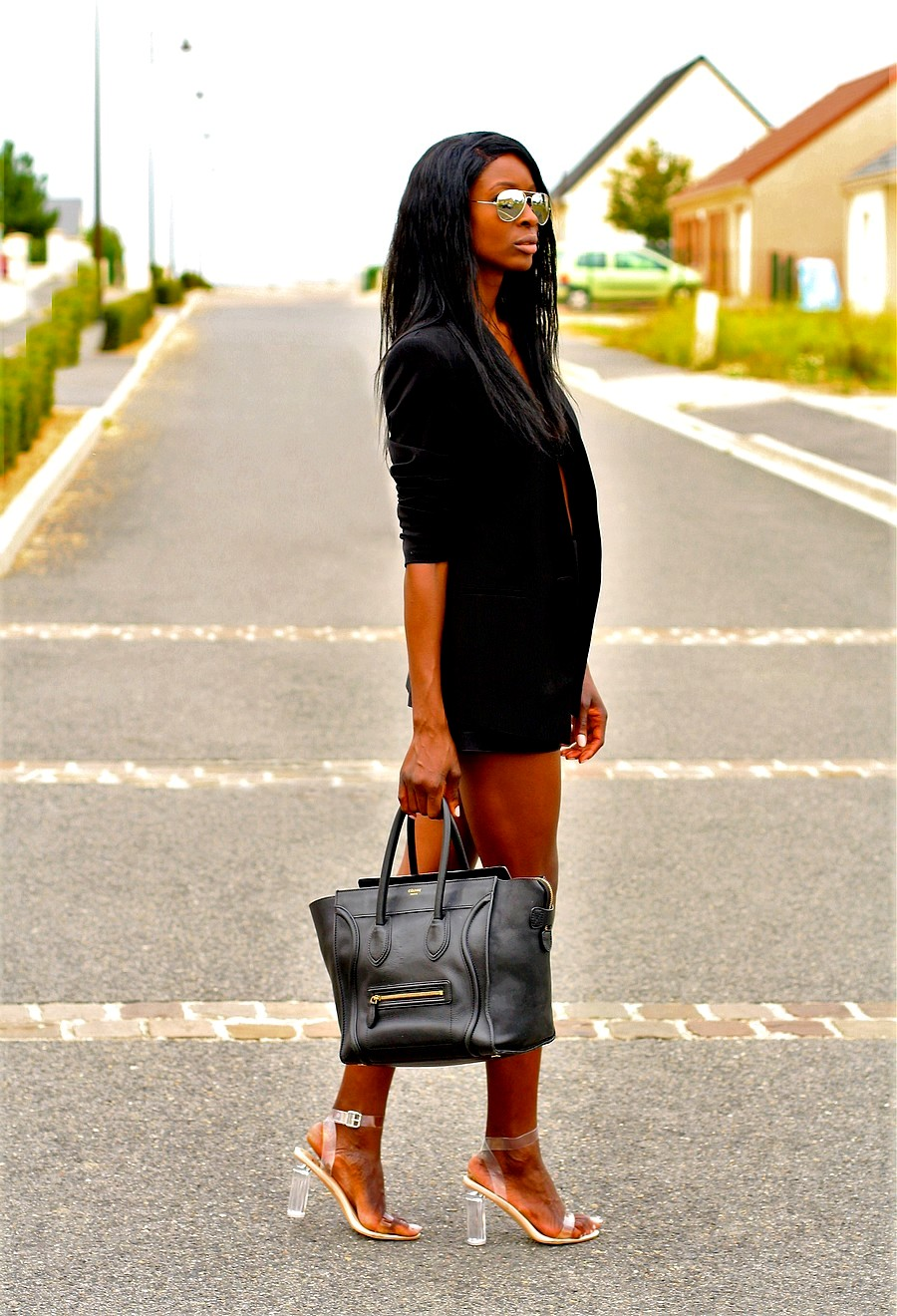 perspex-heels-celine-mini-luggage-highwaist-short-blazer-crop-top