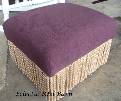 Eclectic Red Barn: Burgandy covered foot stool