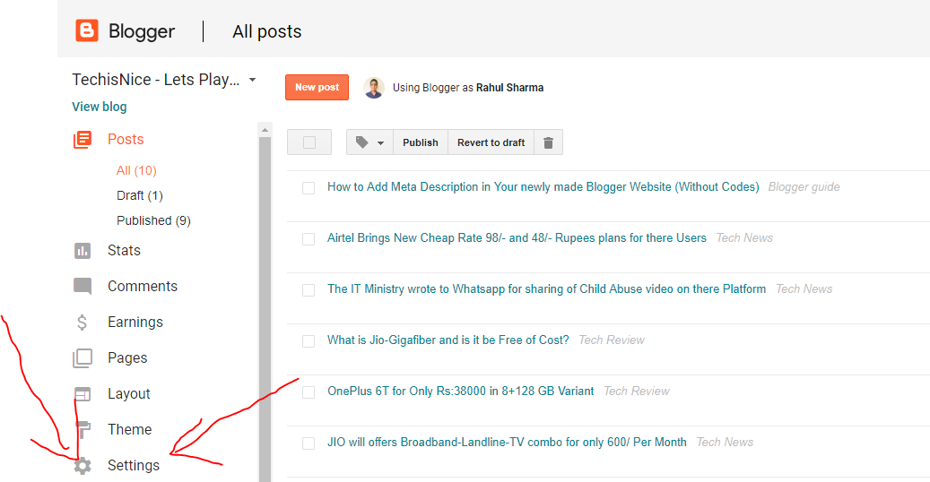How to Add Meta Description in Your newly made Blogger Website
