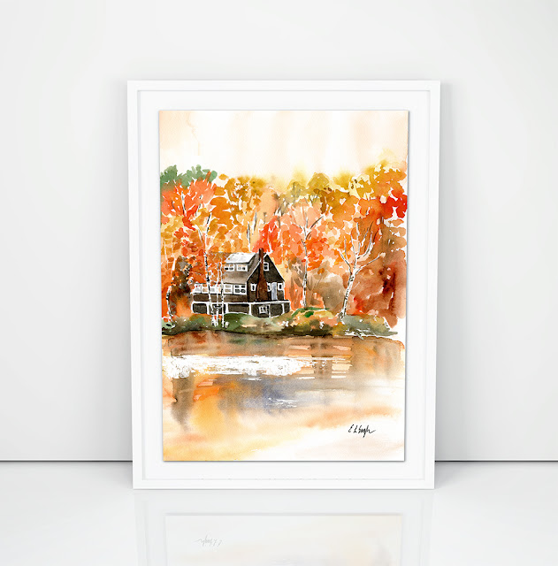 Cabin in the Woods- fall watercolor painting by Elise Engh